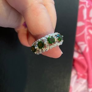 Russian chrome diopside ring in .925 sterling, sz8